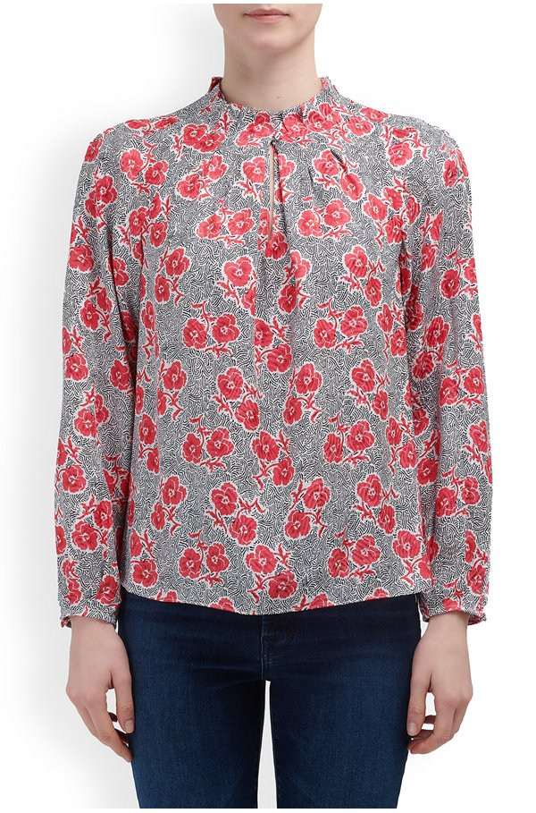 long sleeve coral fleur top in snow combo