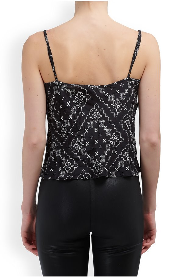 jill cami top in black square paisley