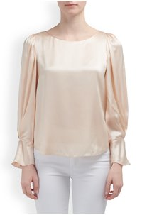 LONG SLEEVE CHARMEUSE TOP IN MARZIPAN