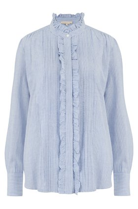 NICOLAS FRILL FRONT BLOUSE IN BLANC AND BLEU