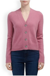SHRUNKEN BUTTON CARDIGAN IN ROSE ROOT