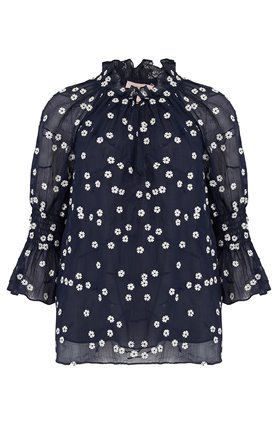 long sleeve alessandra top in navy combo