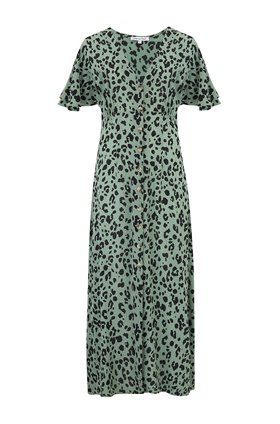 lola dress in sage leopard