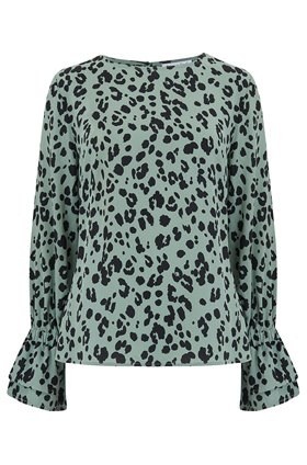 Dakota Top in Sage Leopard