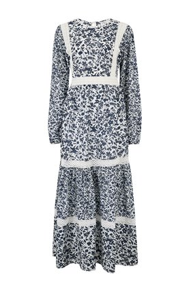 lara dress in white navy blossom
