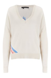 nova star intarsia jumper in white and grey