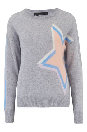 estella star intarsia jumper in grey and cantaloupe