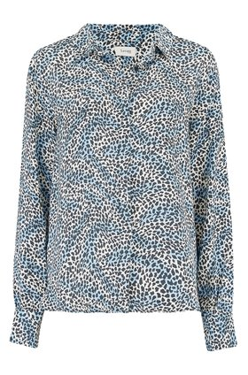 leopard print blouse in blue