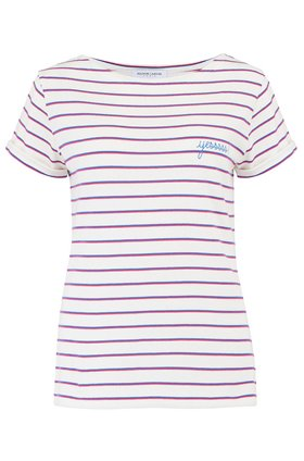 sailor yessss t-shirt in blue & pink stripe