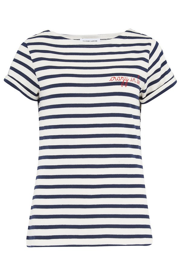 sailor crazy in love t-shirt in blue & cream stripe