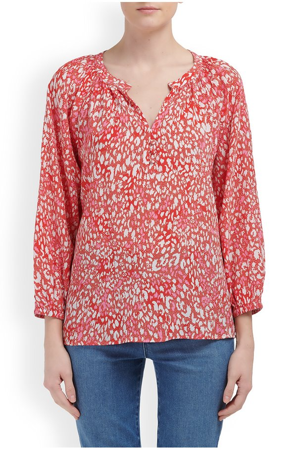 LEONIE BLOUSE IN RED PINK ANIMAL