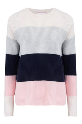 exclusive wide stripe jumper in snow & cloud