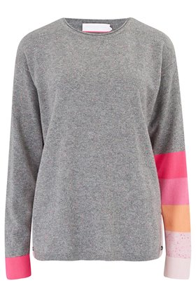 kitty stripe arm jumper in grey