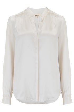 bianca band collar blouse in ivory