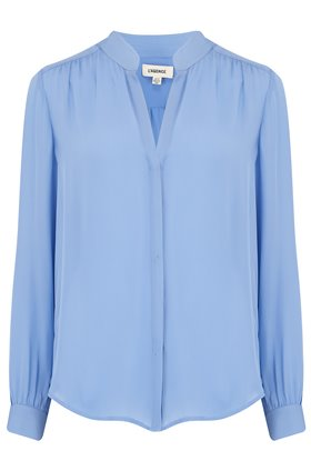 bianca band collar blouse in seaside blue
