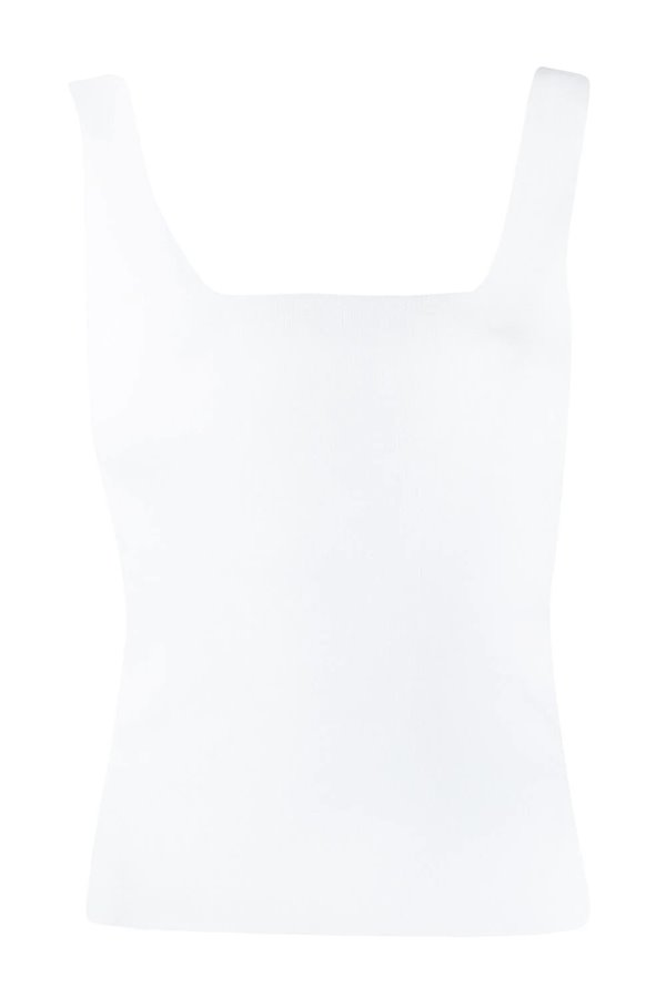 square neck tank top in optic white