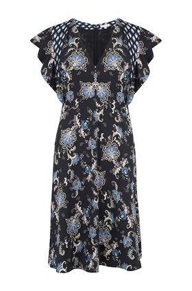 sleeveless paisley dress in black combo