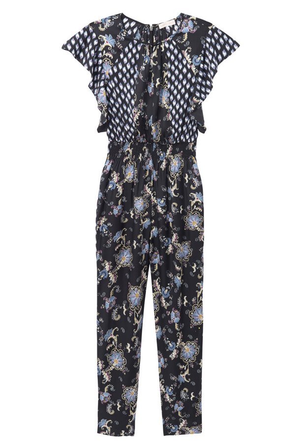 sleeveless paisley jumpsuit in black combo