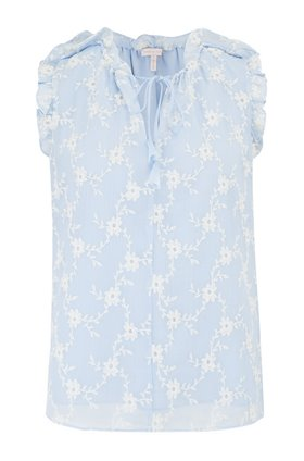 sleeveless vine embroidery top in echo blue combo