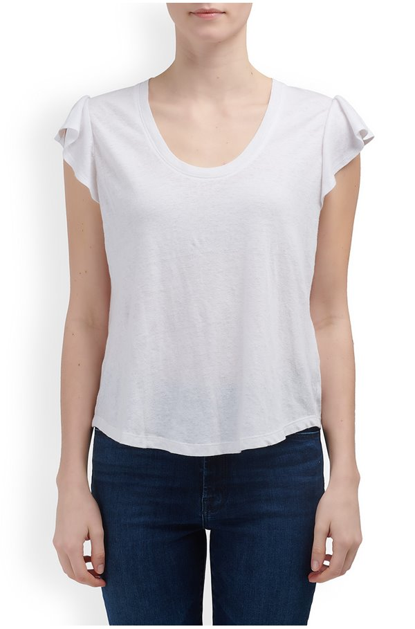 washed textured jersey top in milk