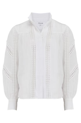 panel lace button up blouse in blanc