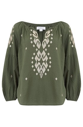 klara embellished top in olive