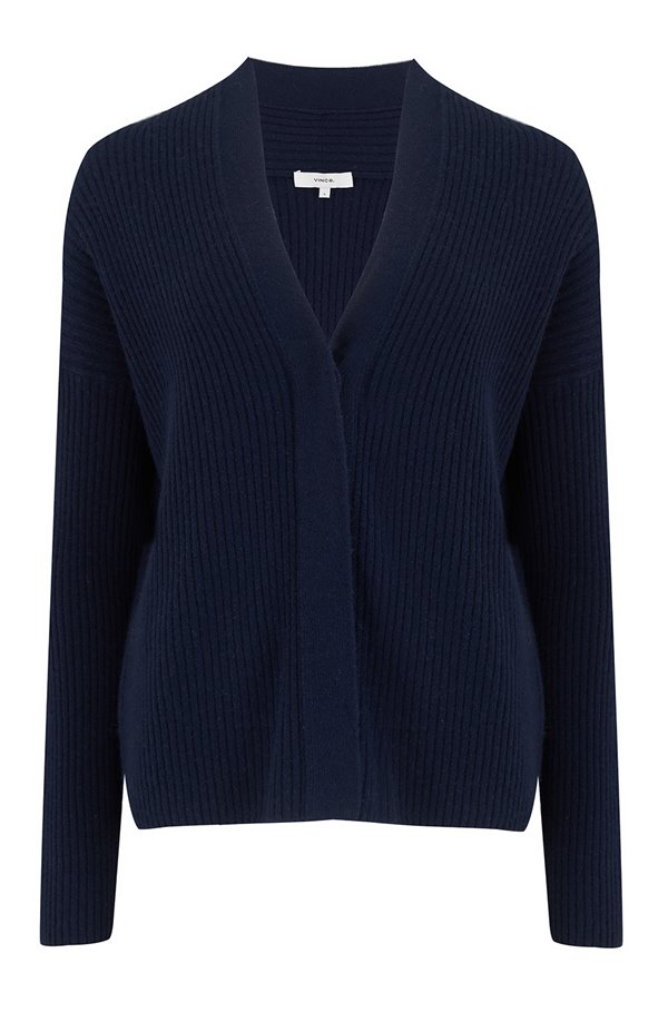 ribbed button cardigan in wave crest