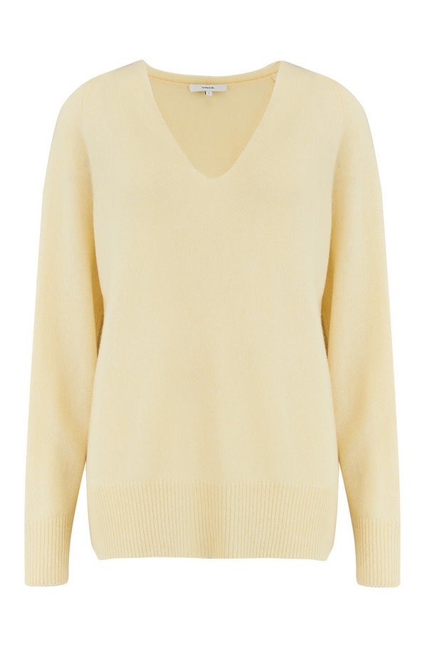 marled v-neck jumper in solaria