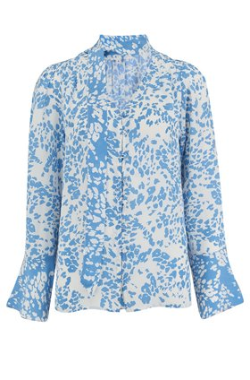 sasha blouse in sky blue animal