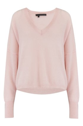 marina v-neck jumper in honey pink