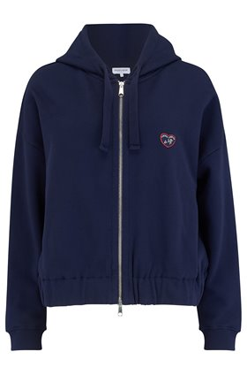 athletic zip up logo sweater in navy
