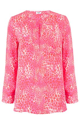 windsor cheetah blouse in mermaid pink