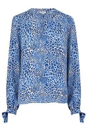 exclusive hinton cheetah blouse in sea blue