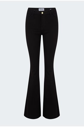 le high flare jean in noir