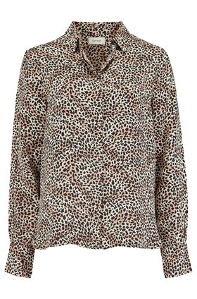 leopard print blouse in natural
