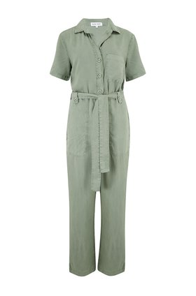 button front jumpsuit in olive grove