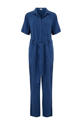 button front jumpsuit in sea port navy