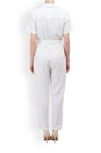 button front jumpsuit in white