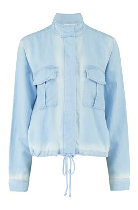 drawcord military jacket in sunseams wash