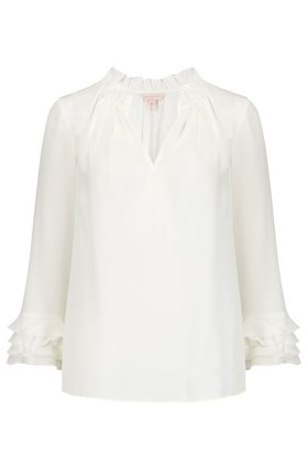 long sleeve georgette ruffle top in snow