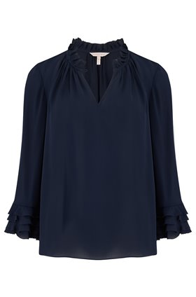 long sleeve georgette ruffle top in navy