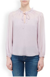 long sleeve satin dot top in lilac