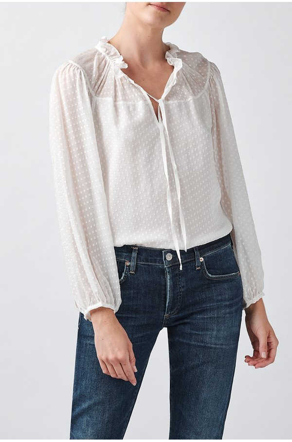 long sleeve satin dot top in snow