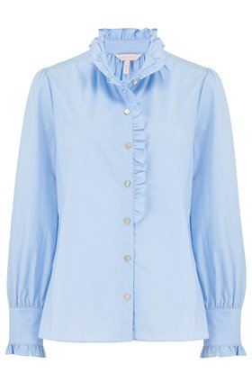 poplin ruffle shirt in oxford blue