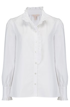 long sleeve poplin ruffle shirt in milk