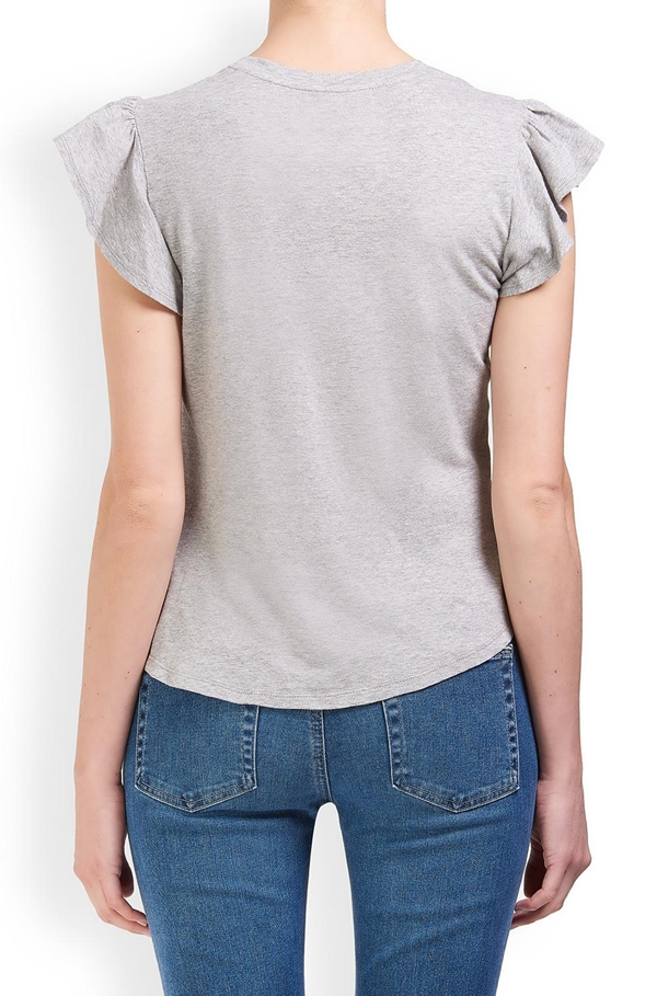 washed textured jersey top in grey