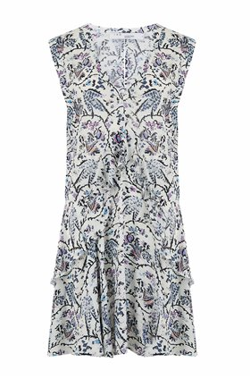 variety print dress in white