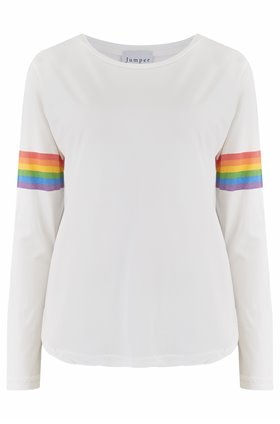 rainbow arms crew top in white