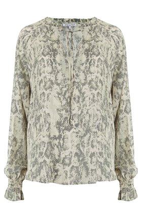 exclusive florence blouse in sage snake