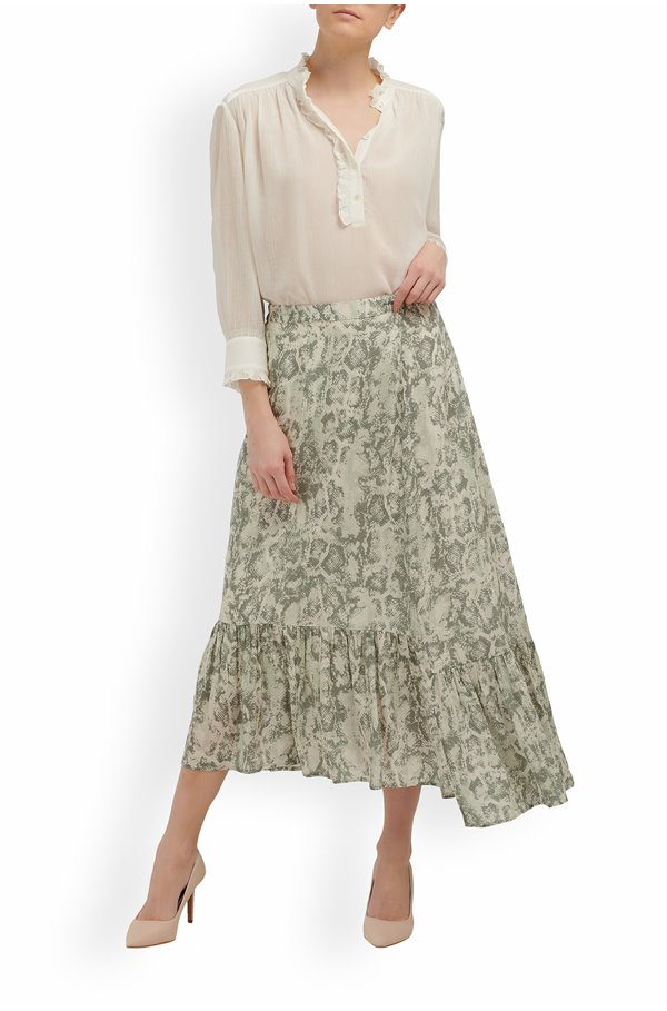 exclusive cleo skirt in sage snake